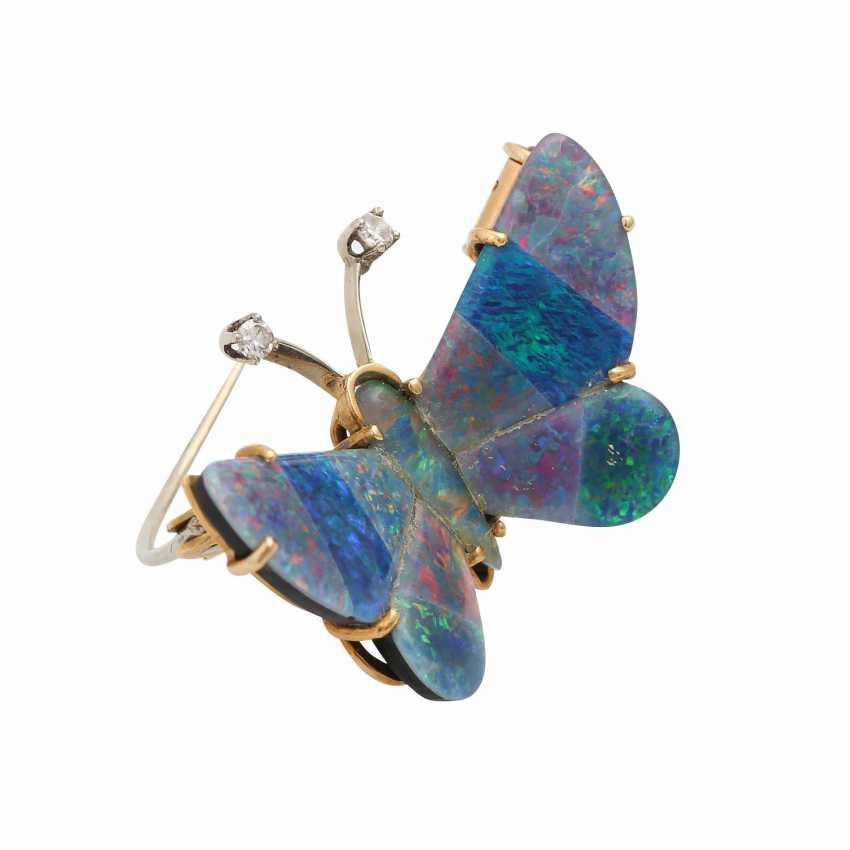 """Brooch """"butterfly"""" Opal triplets-mosaic, - photo 2"""