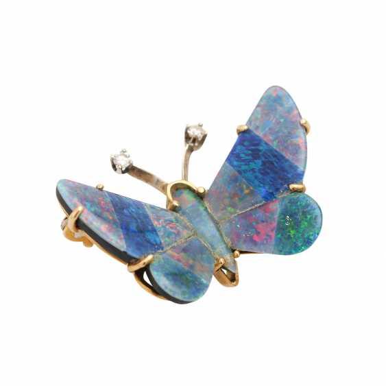 """Brooch """"butterfly"""" Opal triplets-mosaic, - photo 3"""