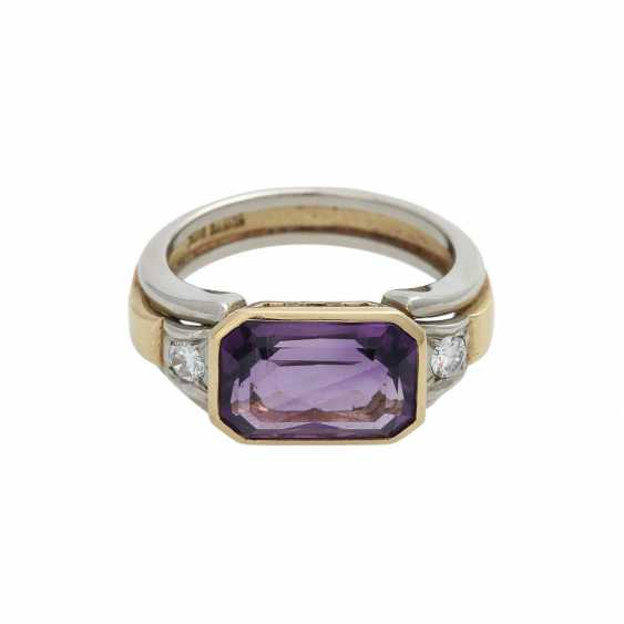 Ring with Amethyst, octagonal in shape approximately 11x7 mm - photo 1