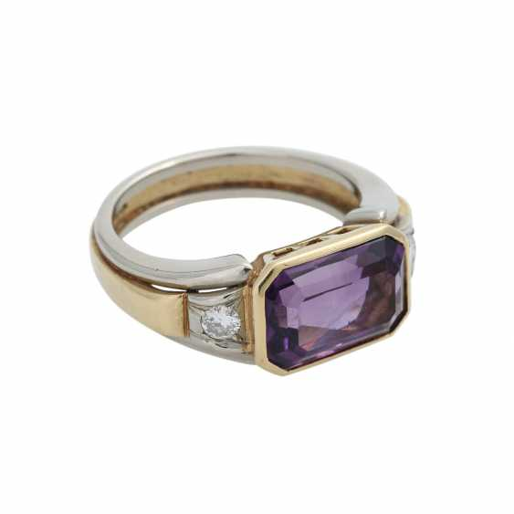 Ring with Amethyst, octagonal in shape approximately 11x7 mm - photo 2