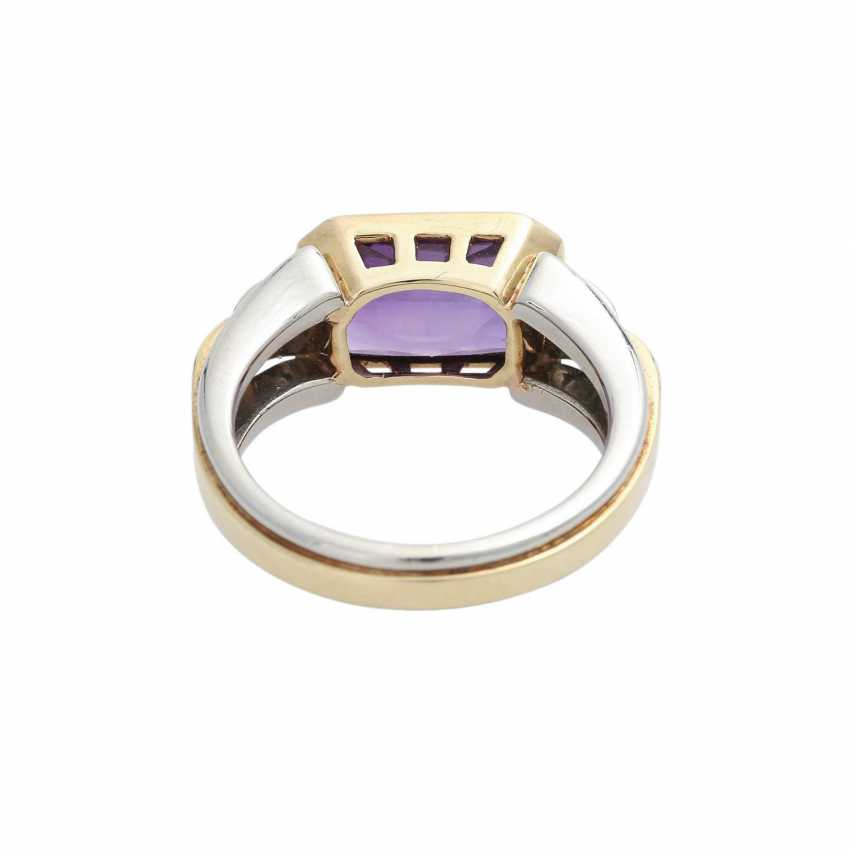 Ring with Amethyst, octagonal in shape approximately 11x7 mm - photo 4