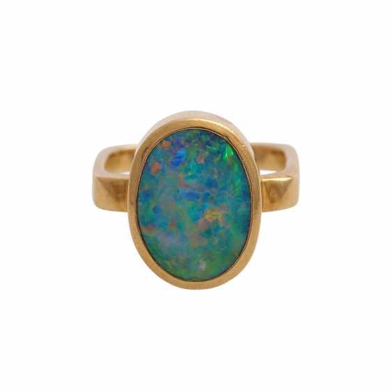 Ring mit Opal, oval, ca. 13x10 mm, - photo 1