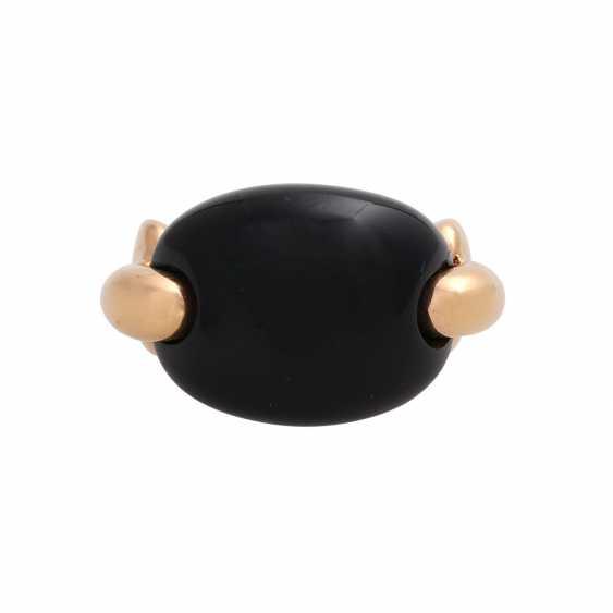 Moderner Ring mit Onyx Cabochon, - photo 1