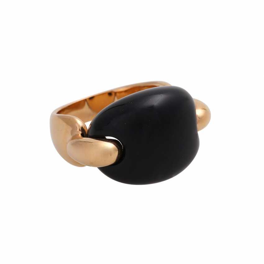 Moderner Ring mit Onyx Cabochon, - photo 2