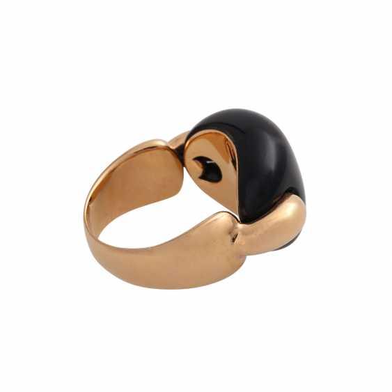 Moderner Ring mit Onyx Cabochon, - photo 3