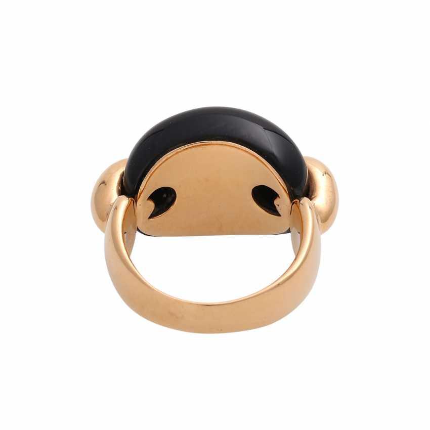 Moderner Ring mit Onyx Cabochon, - photo 4