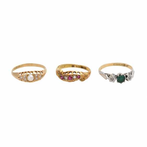 Set of 3 antique rings, Britain, 1880-1920, - photo 1