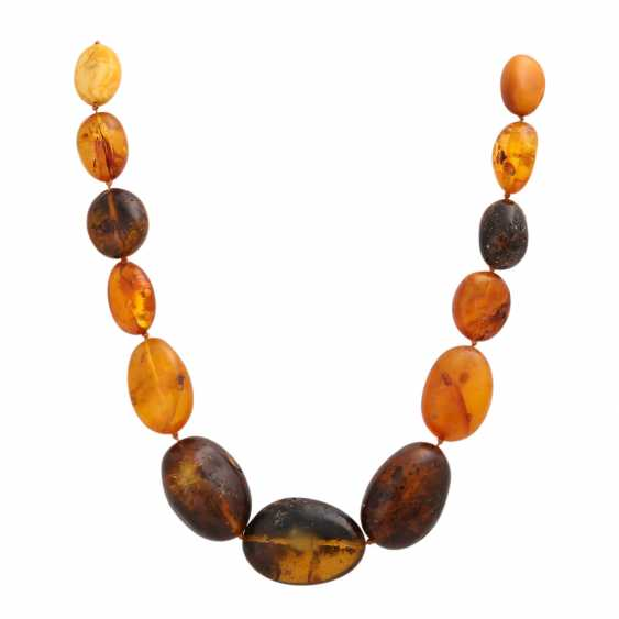 Amber necklace, olive shaped, in the course of, - photo 1