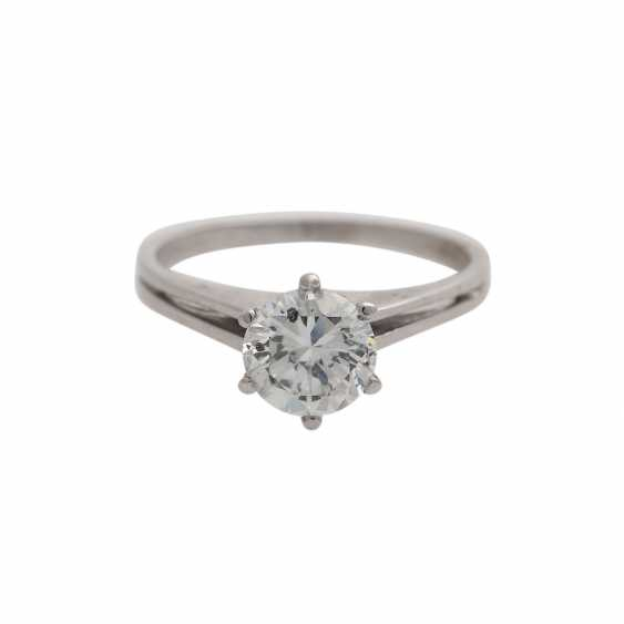 Solitaire ring with brilliant, approximately 1,3 ct, WHITE (H)/P3, - photo 1
