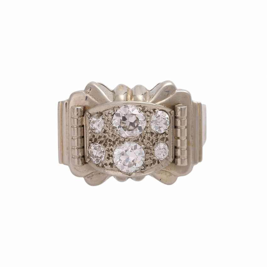 Ring with 6 old European cut diamonds, together approx 0.85 ct, WHITE-LGW (H-J)/VS-SI, - photo 1