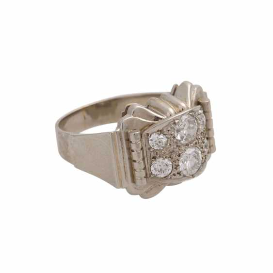 Ring with 6 old European cut diamonds, together approx 0.85 ct, WHITE-LGW (H-J)/VS-SI, - photo 2