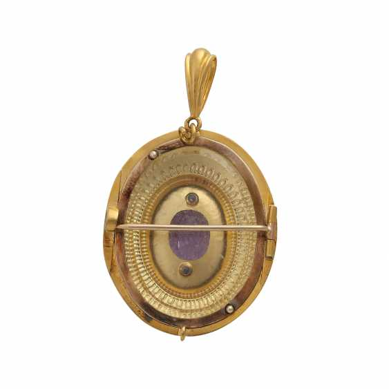 Pendant/brooch with oval fac. Amethyst, approx 2.6 ct, - photo 4