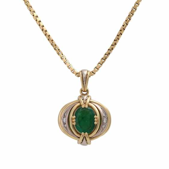 Emerald pendant with diamond trim - photo 1