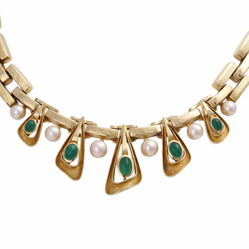 Necklace with 5 oval-shaped emerald cabochons - photo 2