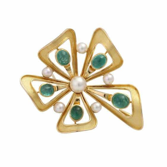 Brooch with 5 oval-shaped emerald cabochons - photo 1