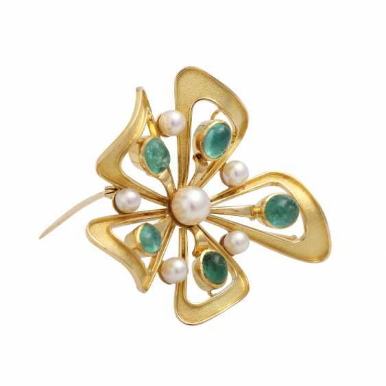 Brooch with 5 oval-shaped emerald cabochons - photo 2