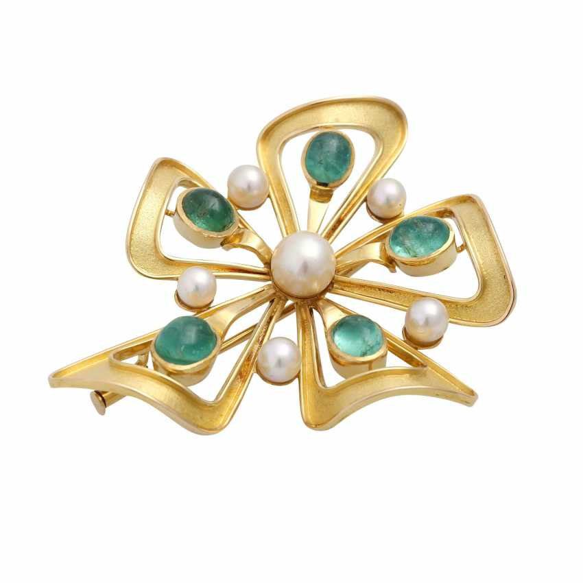 Brooch with 5 oval-shaped emerald cabochons - photo 3