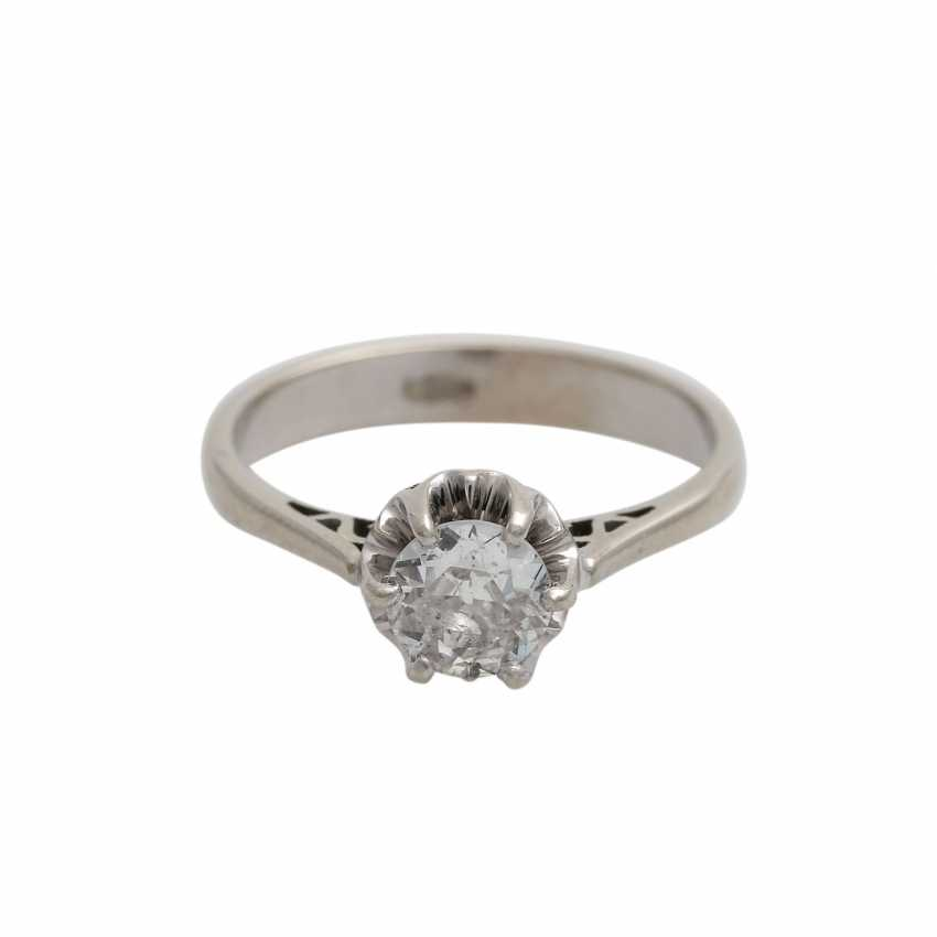 Solitaire ring with old European cut diamond, approx 0.5 ct, WHITE (H)/P1, - photo 1