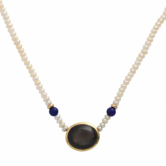 Necklace from kl. Freshwater cultured pearls with oval star sapphire, - photo 2