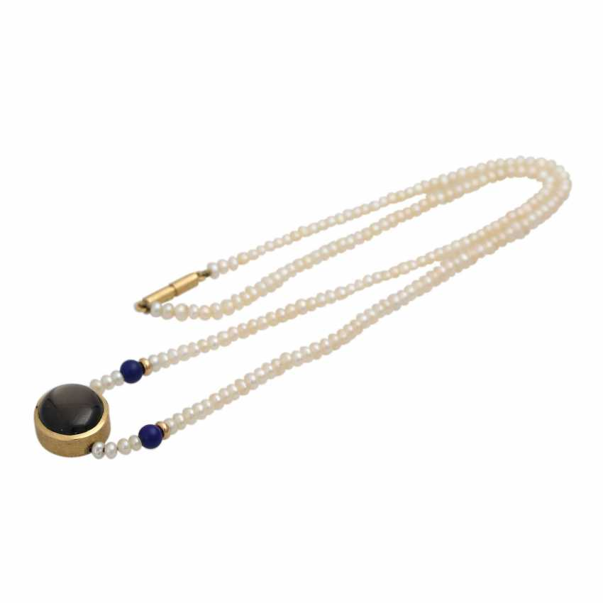 Necklace from kl. Freshwater cultured pearls with oval star sapphire, - photo 3