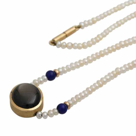 Necklace from kl. Freshwater cultured pearls with oval star sapphire, - photo 4