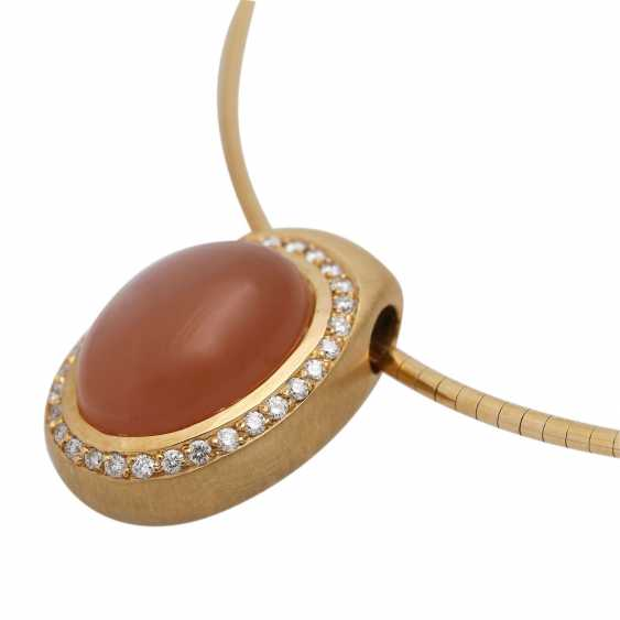 Necklace with oval moonstone, orange, approx. 17x11 mm, - photo 5