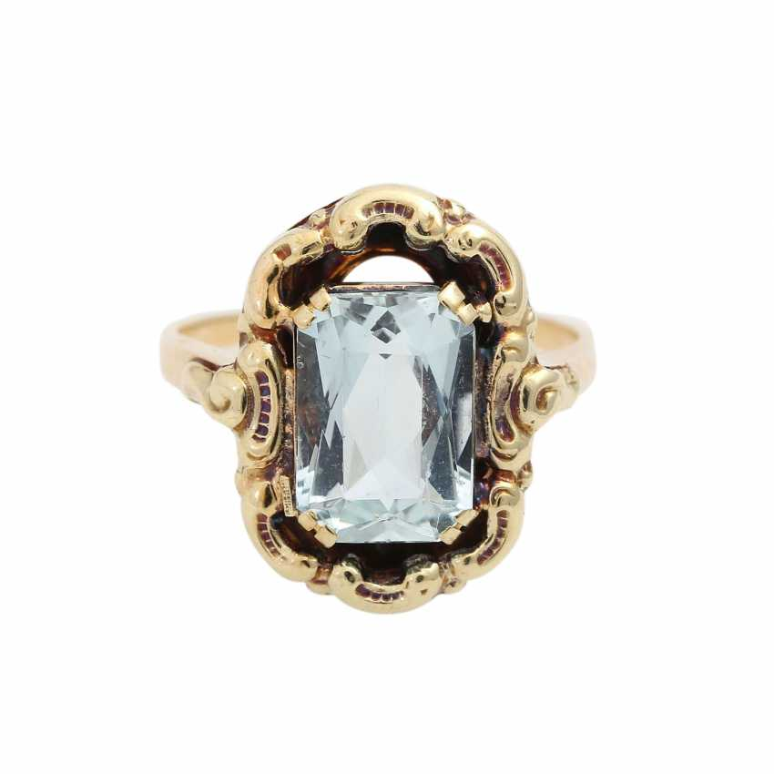 Ring with aquamarine in the octagonal scissor cut, approx. 11x8 mm, - photo 1