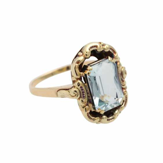 Ring with aquamarine in the octagonal scissor cut, approx. 11x8 mm, - photo 2