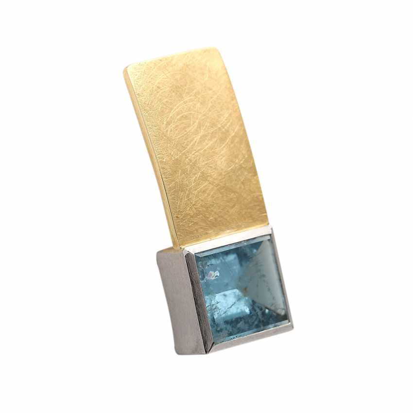 Pendant with a square aquamarine, approx. 7,5 ct, - photo 2