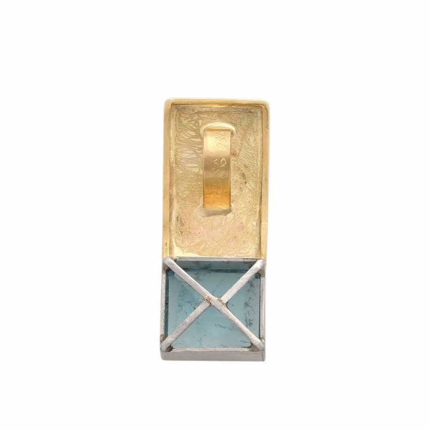 Pendant with a square aquamarine, approx. 7,5 ct, - photo 4