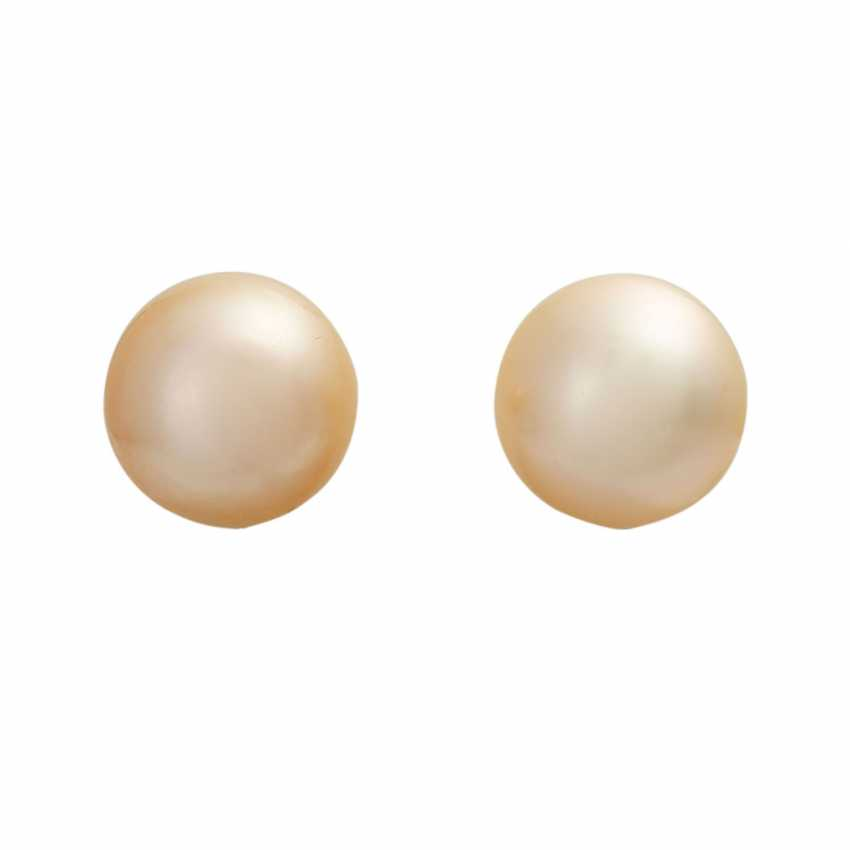 Stud earrings with 1 champagne colored South sea cultured pearl, - photo 1
