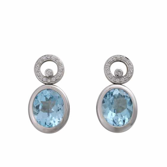 Ear studs, each with 1 blue Topaz and brilliant-cut diamonds, together approx 0.36 ct. - photo 1