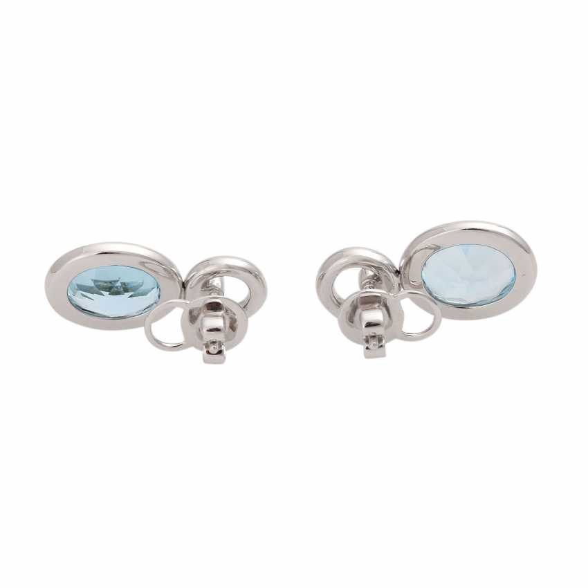 Ear studs, each with 1 blue Topaz and brilliant-cut diamonds, together approx 0.36 ct. - photo 4