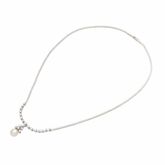Necklace with pearl and brilliant-cut diamonds, together approx. of 1.4 ct, - photo 3