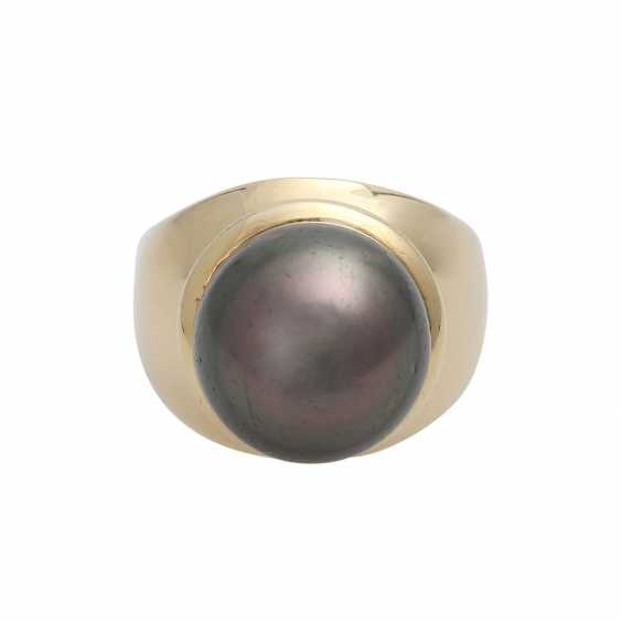 Ring with 1 Tahiti cultured pearl approx. 14 mm. - photo 1
