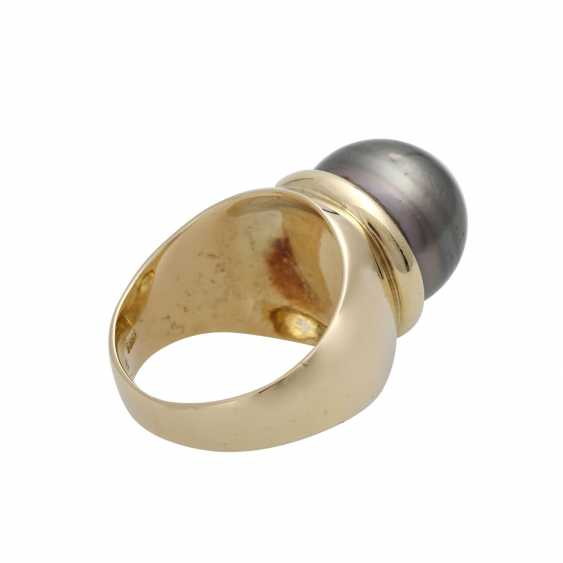 Ring with 1 Tahiti cultured pearl approx. 14 mm. - photo 3
