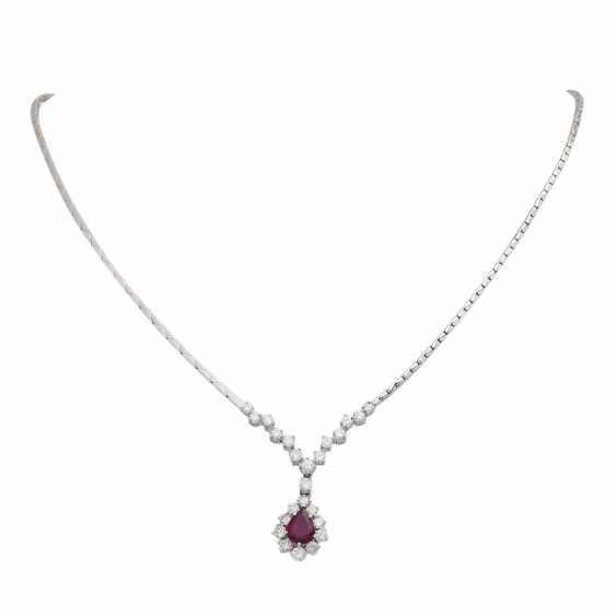 Necklace with ruby 1.4 ct and brilliant-cut diamonds - photo 1