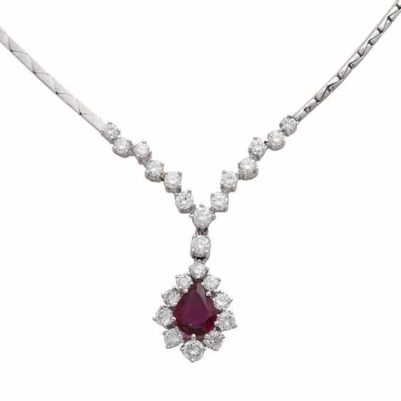 Necklace with ruby 1.4 ct and brilliant-cut diamonds - photo 2