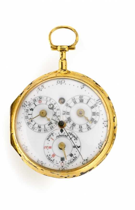 Rare pocket watch with astronomical indications, Bez Hahn Echterdingen, 1780/1790