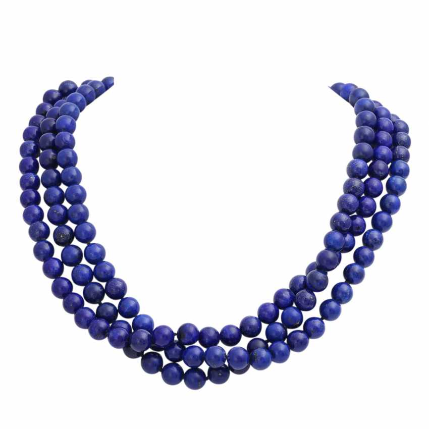 Collier of lapis lazuli balls (beh.), - photo 1