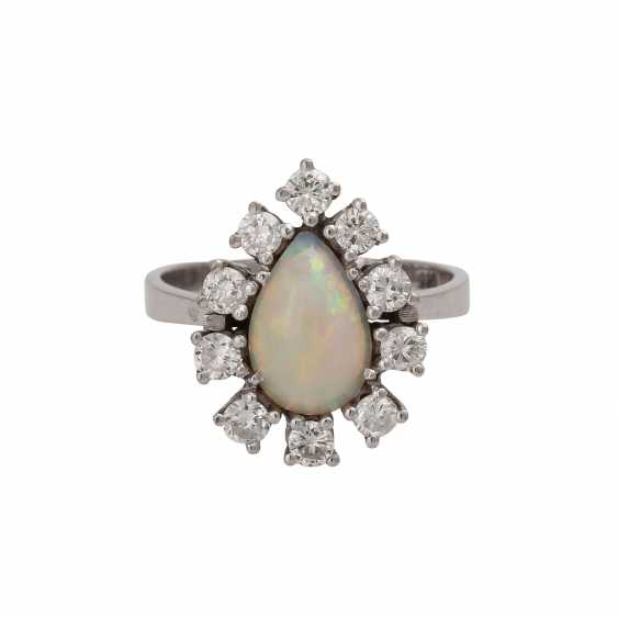 Ring with white opal drops of - photo 1