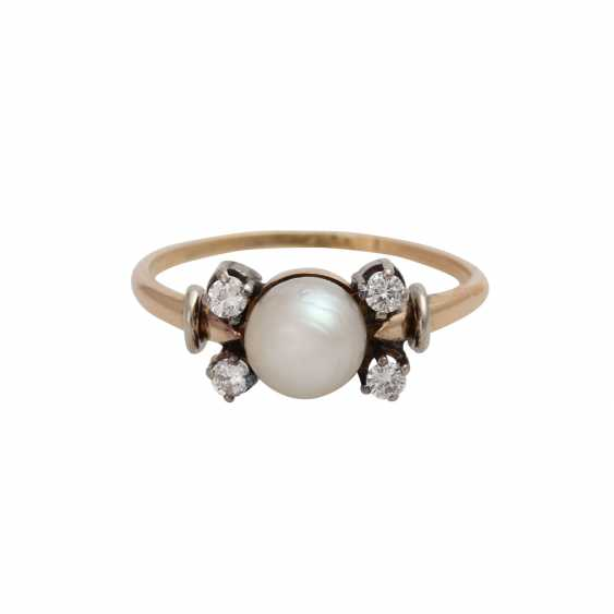 Ring with cultured pearl and brilliant-cut diamonds - photo 1