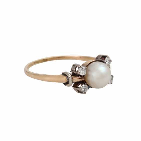 Ring with cultured pearl and brilliant-cut diamonds - photo 2