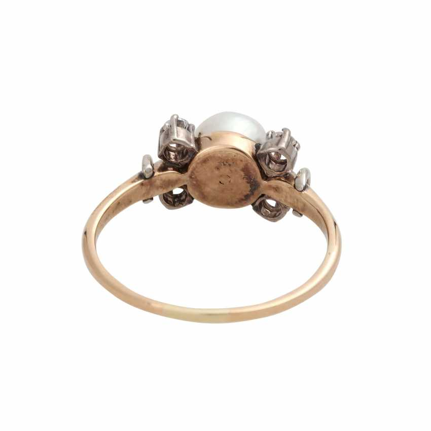 Ring with cultured pearl and brilliant-cut diamonds - photo 4