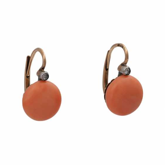 Pair of earrings with precious coral - photo 1