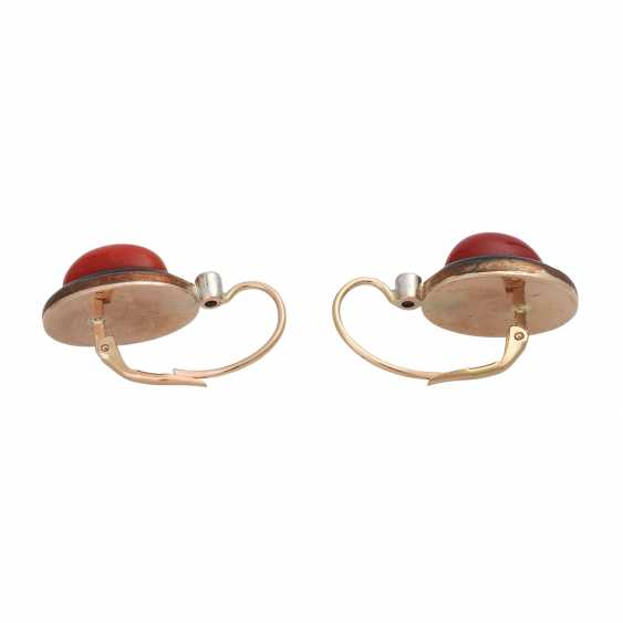 Pair of earrings with precious coral - photo 4
