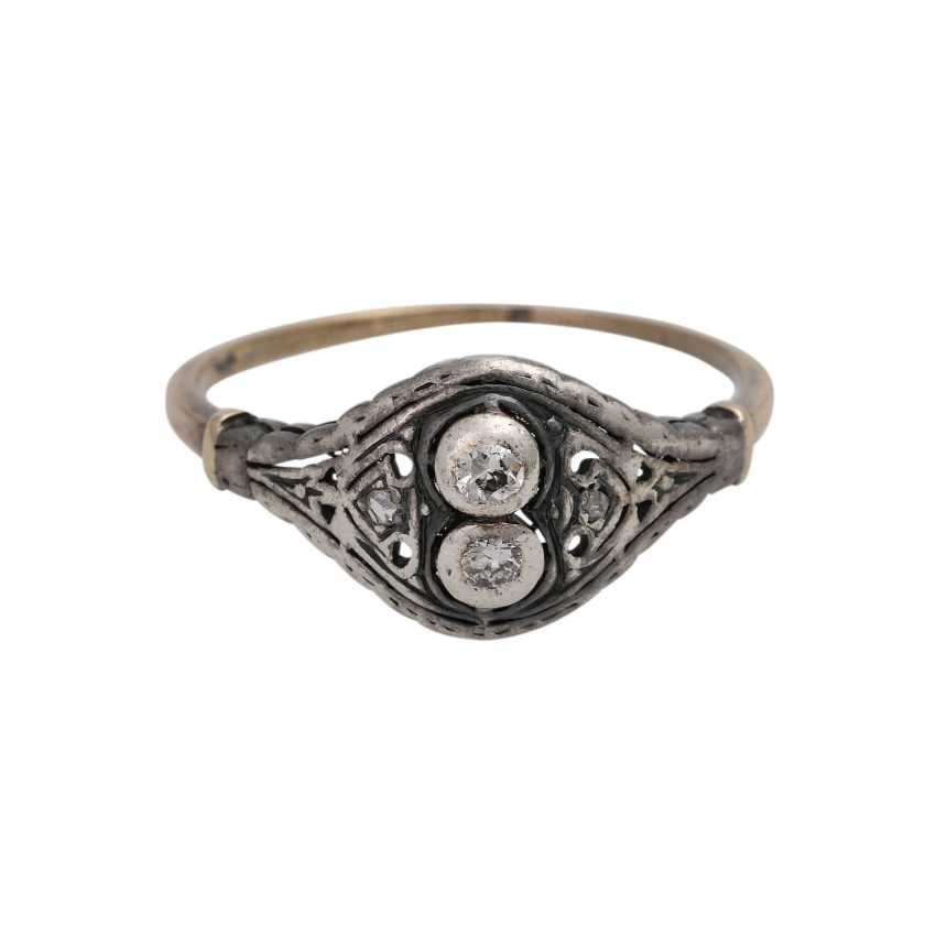 Ring with 2 small old European cut diamonds - photo 1