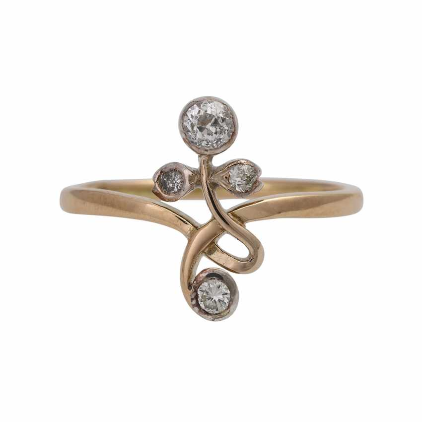 Filigree art Nouveau style ring with diamonds - photo 1
