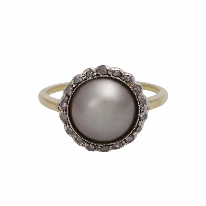 Ring, with half pearl and diamonds - photo 1
