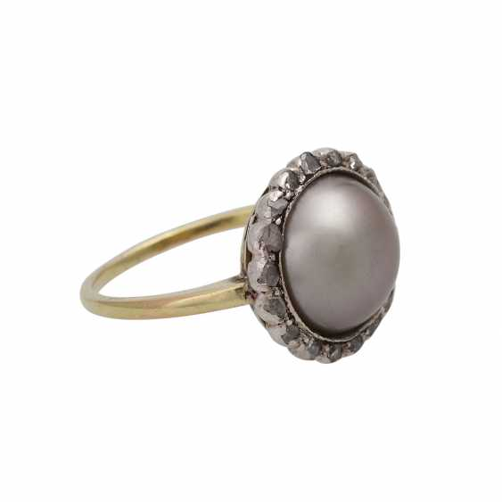 Ring, with half pearl and diamonds - photo 2